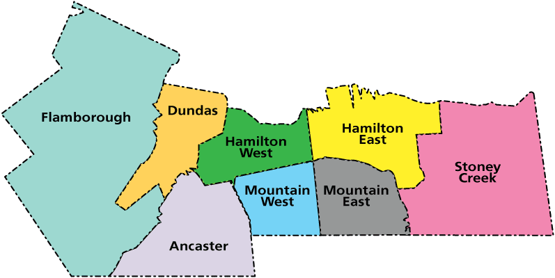 map of bookmobile service areas in Hamilton