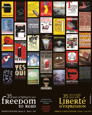 a poster with photos of the covers of banned books