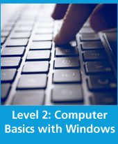 text computer basics with windows and closeup of keyboard