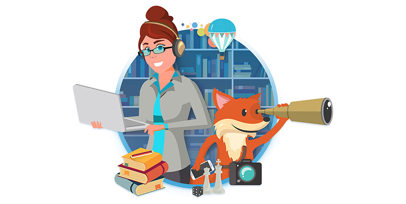 graphic of scout and a female holding a laptop