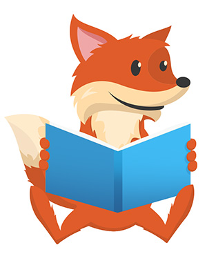 Scout the Fox reading a book