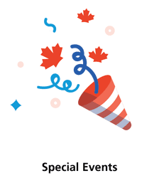a graphic of a party hat and confetti