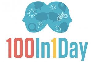 An image of two silhouette animated heads with the text 100In1Day