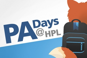 Text PA days at HPL with a fox wearing a backpack