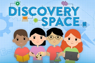 graphic image of children with text discovery space