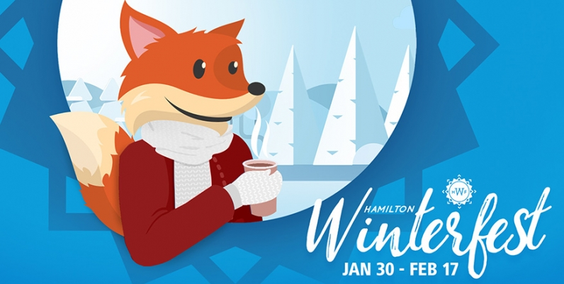 Hamilton Winterfest January 30-February 17. HPL Scout is pictured in a winter outfit.