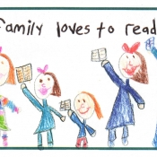 image of family holding books with text my family loves to read
