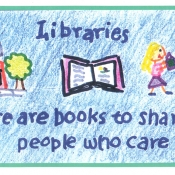 image of library and two kids giving gifts with text libraries there are books to share and people who care