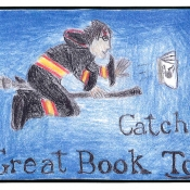 harry potter on a broom chasing a book that has the golden snitch on its cover. text catch a great book today