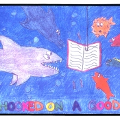 underwater book as fishing bait with several sea creatures and diver text of get hooked on a good book