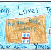 text my family loves to read, how about yours with background of family and hamilton public library