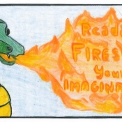 Dragon breathing fire text reading fires up your imagination inside the fire