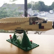 A LEGO fighter plane