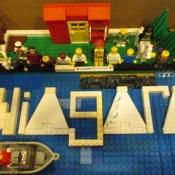 a LEGO representation of Niagara falls