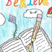 drawing of a pen writing in a notebook with text Imagine Create Believe