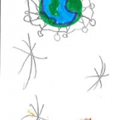 drawing of stars and planets
