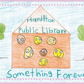 childdrawing of a library with text hamilton public library has something for everyone