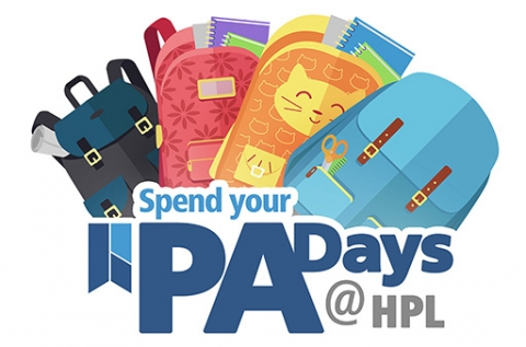 Spend your PA Days at HPL. Multi coloured backpacks are spread behind blue text.