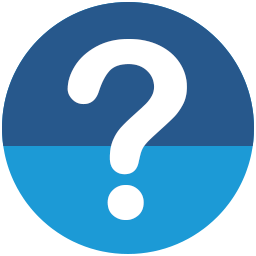 White question mark on blue background.