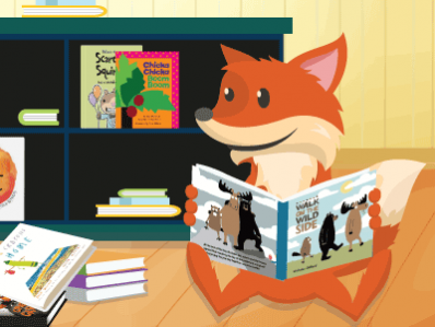 a fox reading a book while sitting on the floor
