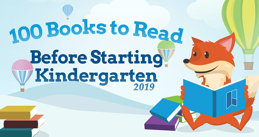 100 Books to Read Before Starting Kindergarten 2019. A picture of the HPL fox, Scout holding a book.