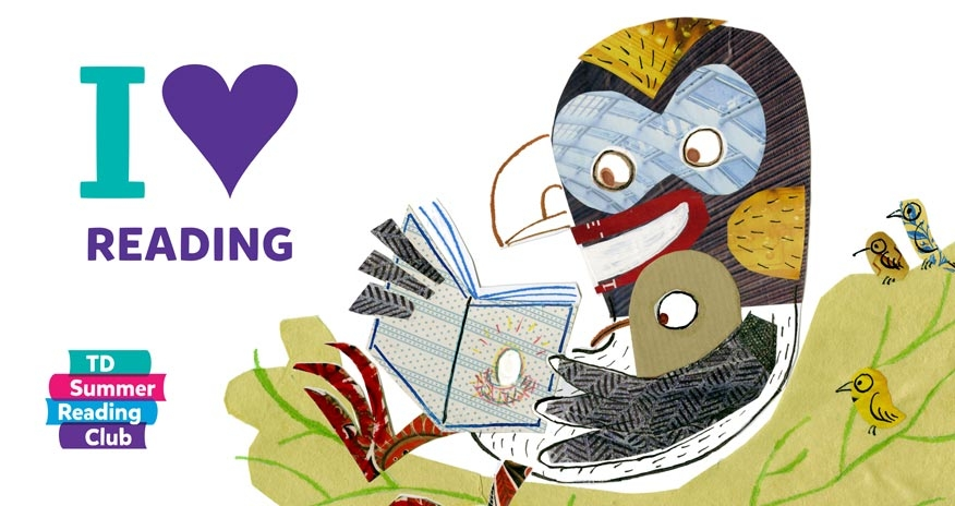 drawing of a bird reading to its young with text i love reading