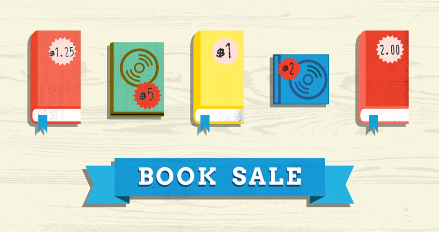 a graphic of books with price tags and text book sale at the bottom