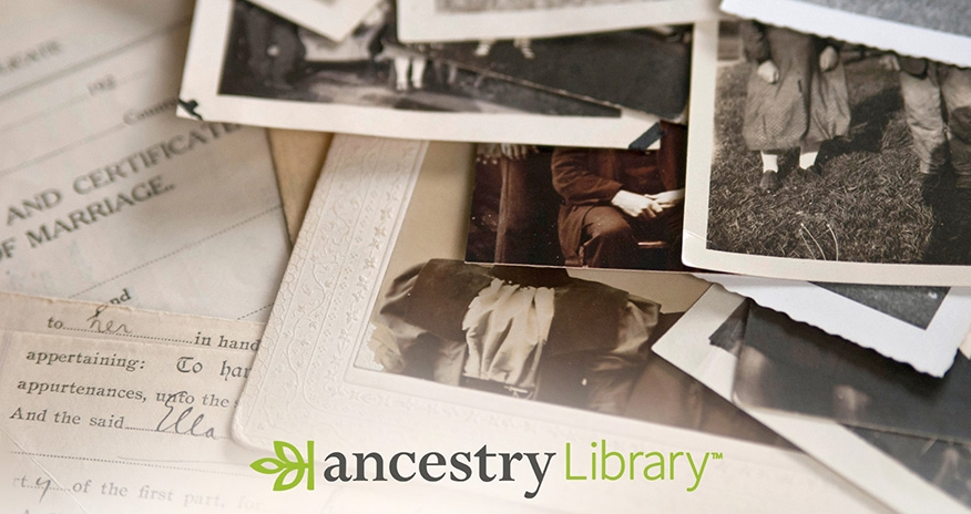Ancestry Library logo. Search from home