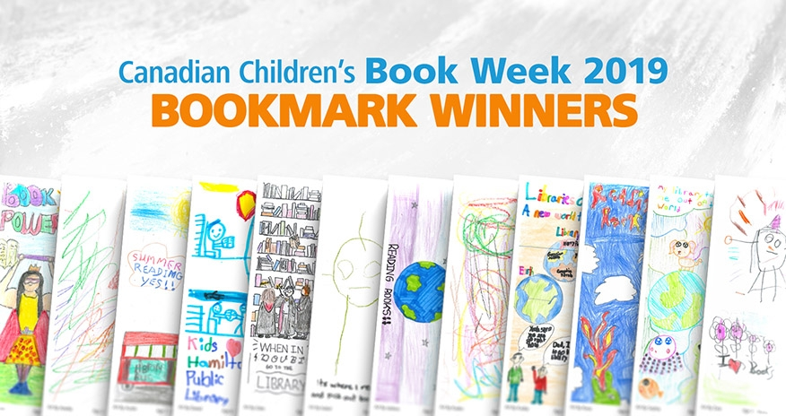 Canadian Childrens Book Week 2019 Bookmark Winners. A collage of the winning bookmarks