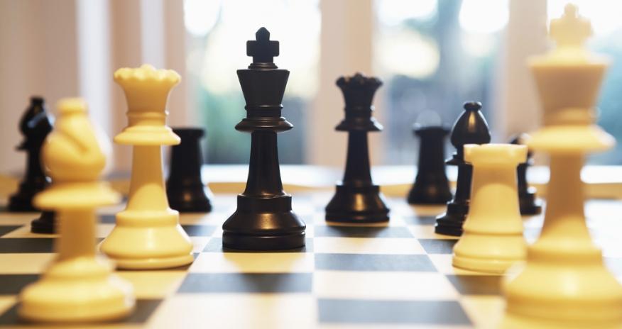 Closeup of a chess board