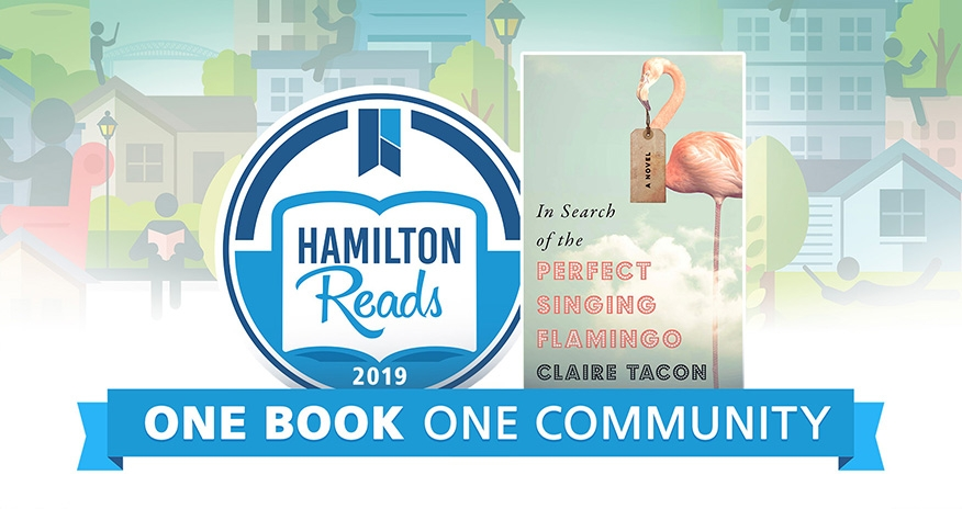 Hamilton reads 2019 logo with the cover of the Hamilton Reads book and the text One Book One Community