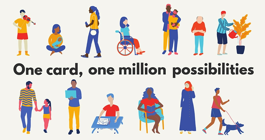One card, one million possibilities. People pictured in the background using library resources.