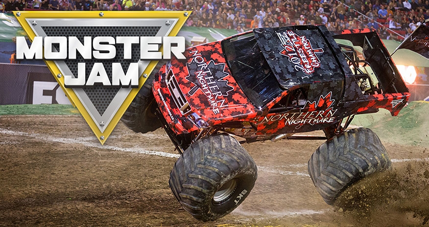 photo of a monster truck with the monster jam logo