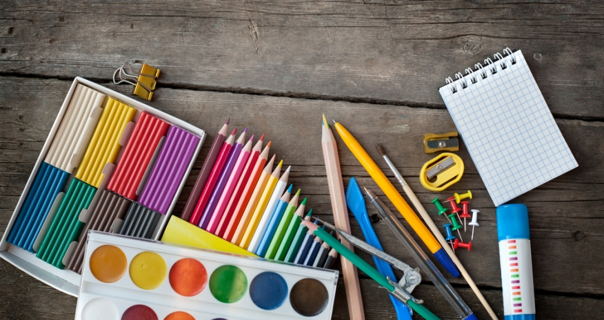 Closeup of art supplies on a table
