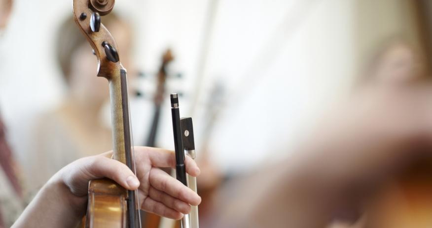 Closeup of violins