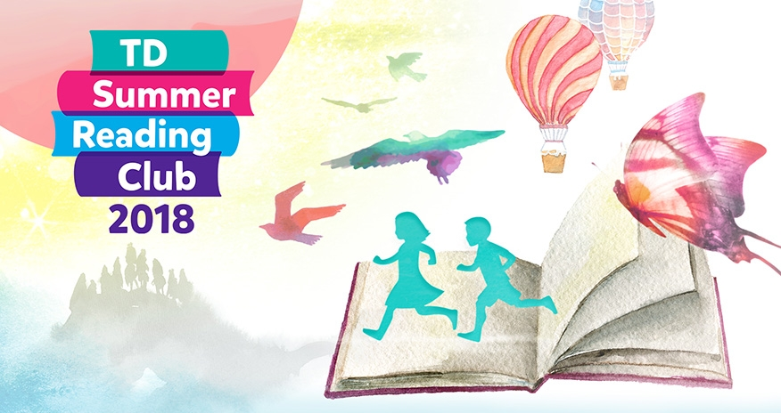 watercolour image of a book with children birds hot air balloons and butterfly are coming from