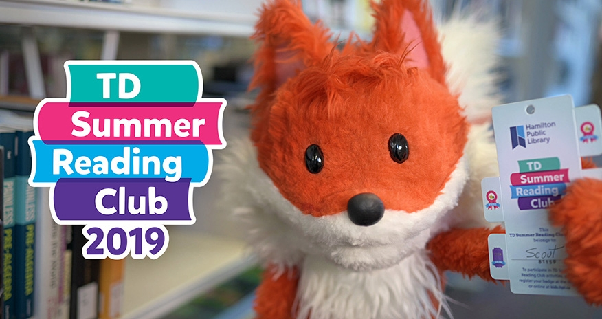 TD Summer Reading Club 2019. An image of HPL's fox, Scout holding his Summer Reading Club pass