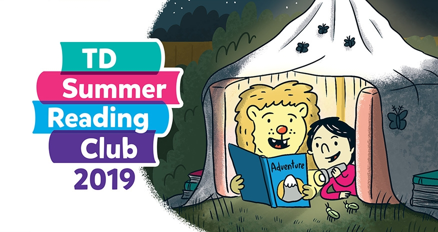 Two animated characters in a tent reading a book with the text TD Summer Reading Club 2019