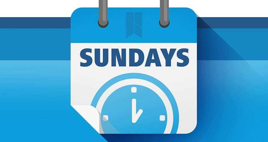 Blue calendar background with an HPL logo and a clock. The text Sundays is displayed in the center.