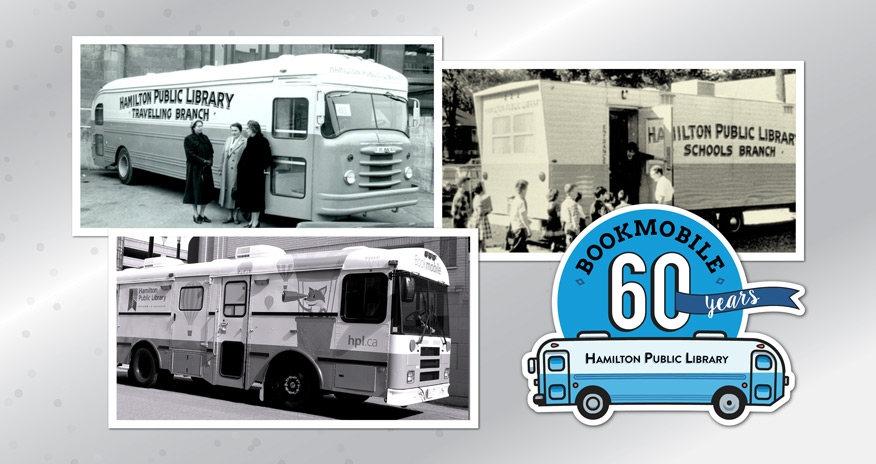 a collage of bookmobile photos