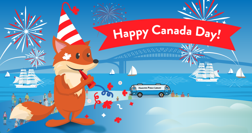 illustration of the Hamilton Harbour with the bookmobile and Scout the Fox with text Happy Canada Day