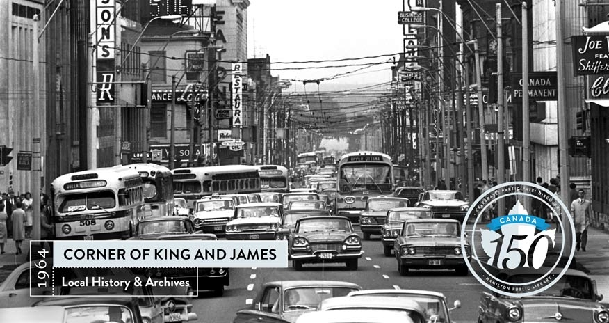 an archival photo of the corner of king and james