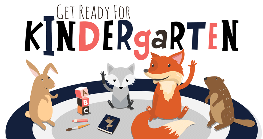 anthropomorphic animals sitting on a rug with the text get ready for kindergarten