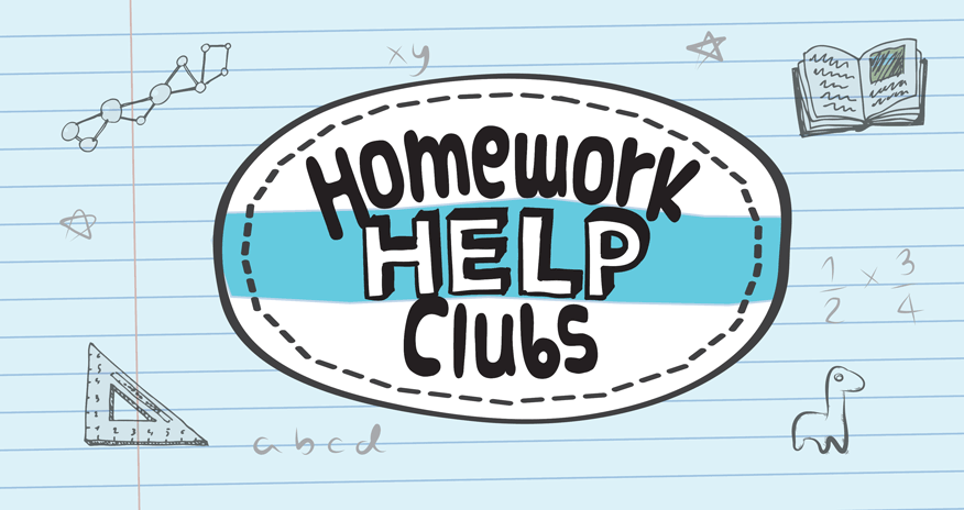 'Homework Help Club' insignia with doodles of homework