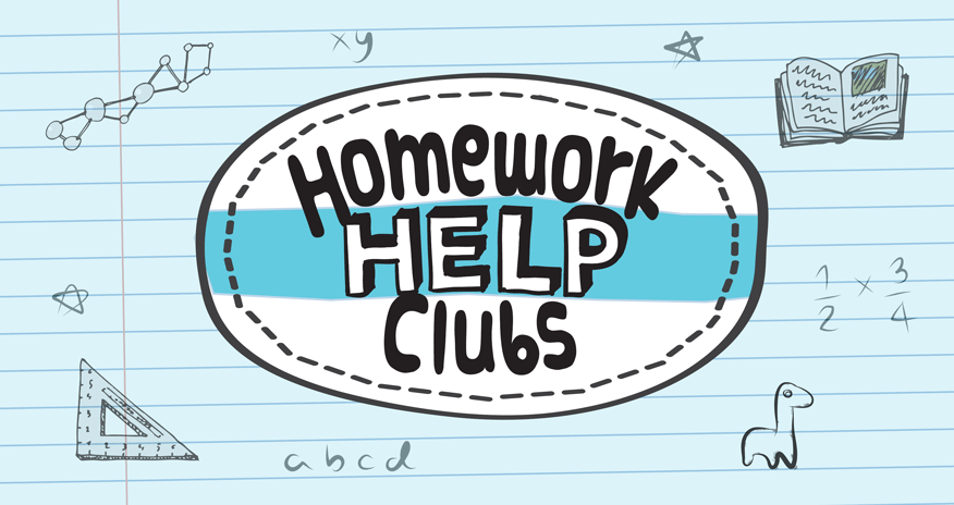 text homework help clubs with various school supplies around it