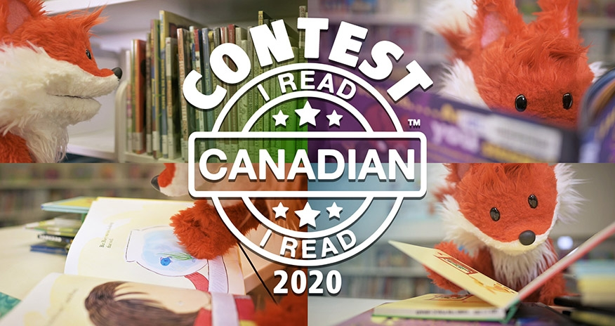 "HPL Scout is pictured reading books and interacting with them. White ""CONTEST"" text is displayed with the I Read Canadian logo 2020"