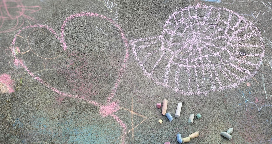 Sidewalk chalk in the shape of a gear