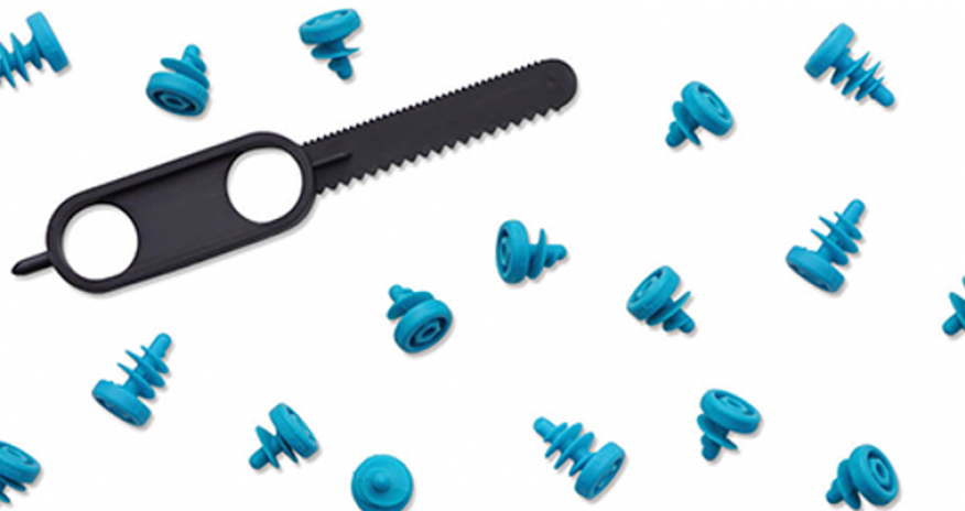 photo of plastic screws and a plastic saw