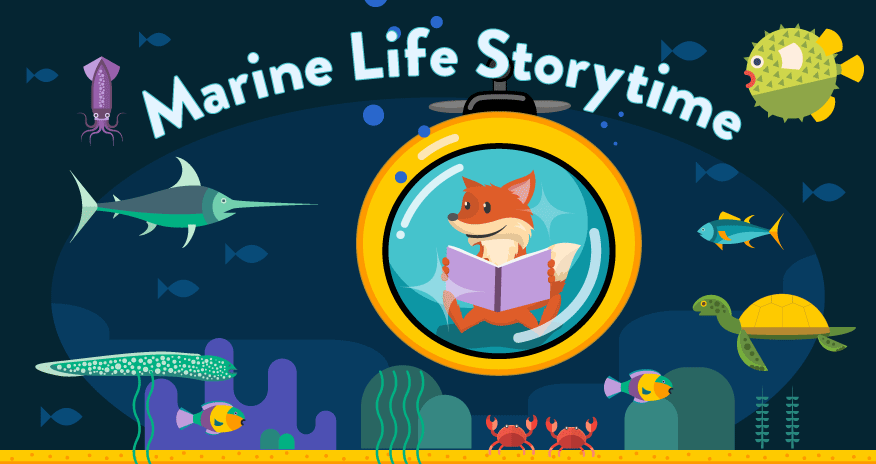 Animated library fox mascot reading in submarine and looking at fish