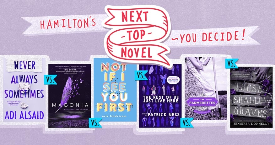 6 covers lined up with a banner above reading Hamilton's Next Top Novel